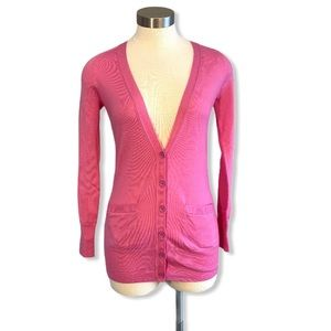 J Crew Classic Cardigan Merino Wool Pink